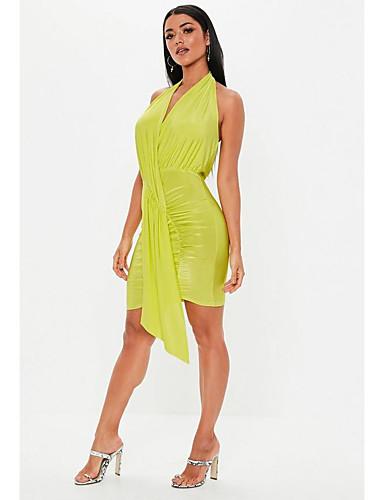 abordables TS@ Ropa-TS@ Mujer Chic de Calle Vaina Vestido - Frunce, Un Color Sobre la rodilla