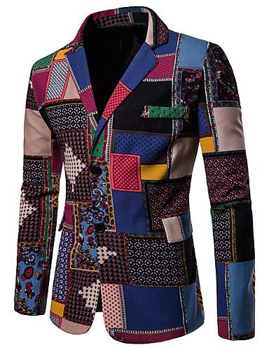 abordables Blazers & Costumes Homme-Homme Blazer, Géométrique / Arc-en-ciel Revers Cranté Coton / Lin Arc-en-ciel XXL / XXXL / XXXXL