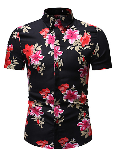 cheap Men's Shirts-Men's Daily Wear Vacation Holiday Basic / Street chic EU / US Size Cotton Shirt - Floral / Graphic Print Classic Collar Rainbow XL / Short Sleeve / Beach