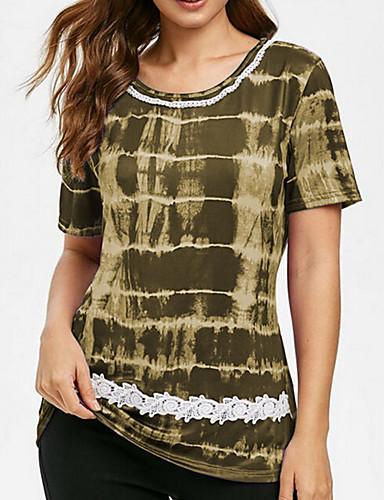 billige Topper til damer-Store størrelser T-skjorte Dame - Geometrisk, Trykt mønster Lilla XXXL