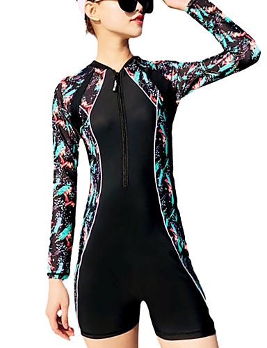 cheap Swimming-Women's Rash Guard Dive Skin Suit Quick Dry YKK Zipper Stretchy Nylon Spandex Chinlon Swimwear Beach Wear Diving Suit Pattern Swimming Surfing Stand-Up Paddleboarding