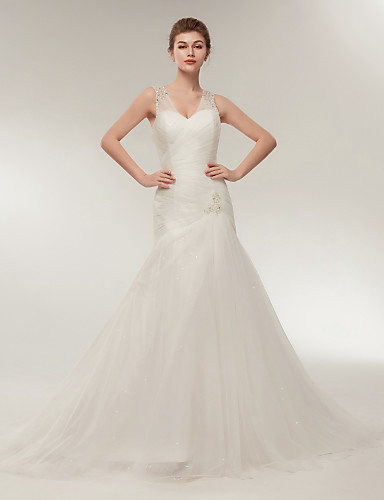cheap Wedding Dresses-Mermaid / Trumpet V Neck Court Train Tulle Made-To-Measure Wedding Dresses with Beading by LAN TING Express