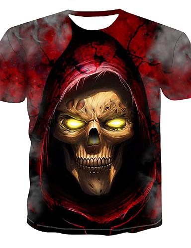 voordelige Heren T-shirts & tanktops-Heren Print T-shirt Kleurenblok / 3D / Doodskoppen Ronde hals Rood