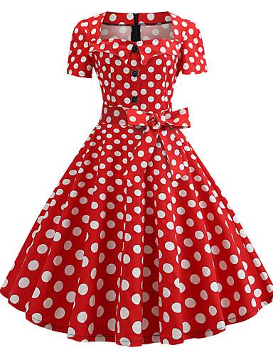 رخيصةأون فساتين للنساء-فستان نسائي A line عتيق خمسينيات طباعة طول الركبة منقط رقبة مربعة
