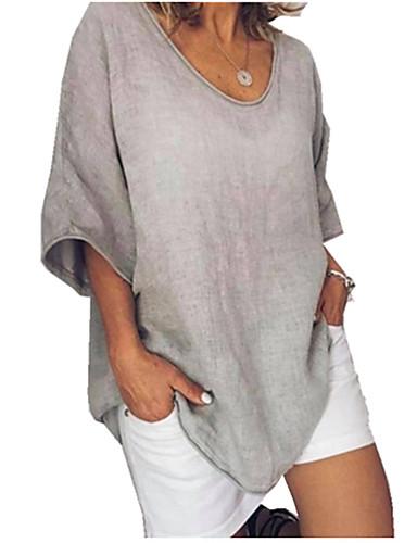 billige Dametopper-Løstsittende V-hals Store størrelser T-skjorte Dame - Ensfarget Mørkegrå XXXL
