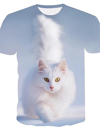 abordables Hauts pour Femme-Tee-shirt Femme, Bloc de Couleur / 3D / Animal Imprimé Basique / Exagéré Bleu clair