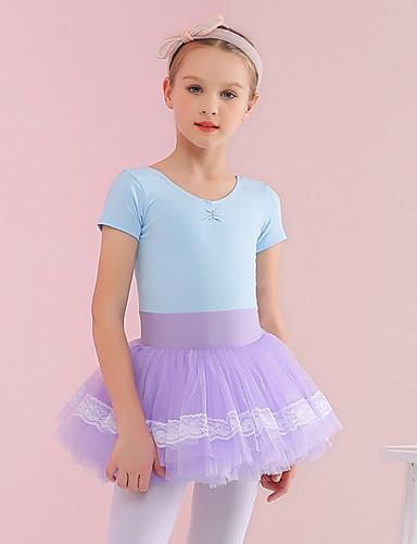 preiswerte Ballettbekleidung-Tanzkleidung für Kinder / Ballett Kleider Mädchen Training / Leistung Baumwolle / Elastan Elastisch / Horizontal gerüscht Kurzarm Kleid