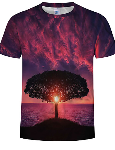 cheap Men's Tees & Tank Tops-Men's EU / US Size T-shirt - Trees / Leaves Print Round Neck Fuchsia XXXXL