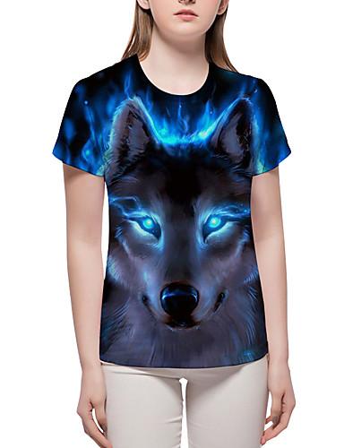 billige Dametopper-T-skjorte Dame - Fargeblokk / 3D / Dyr, Trykt mønster Grunnleggende / overdrevet Blå XL
