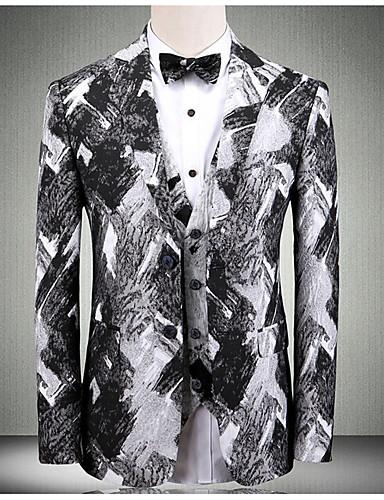 voordelige Herenblazers & kostuums-Heren Grote maten Pakken, Kleurenblok Overhemdkraag Polyester Grijs / Slank