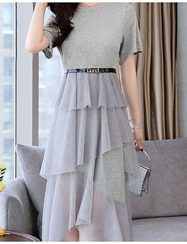 Femme Mi-long Mousseline de Soie Robe Noir Gris M L XL Manches Courtes