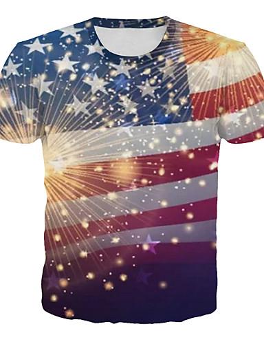 cheap Men's Tees & Tank Tops-4th of july Men's Casual / Daily Plus Size T-shirt - Striped / Geometric Print Round Neck Rainbow XXXXL / Short Sleeve