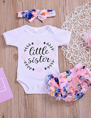 Dítě Dívčí Základní Tisk Tisk Krátký rukáv Standardní Bavlna Sady oblečení Bílá