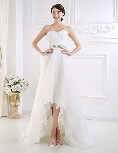 cheap Wedding Dresses-A-Line Sweetheart Neckline Asymmetrical Tulle Made-To-Measure Wedding Dresses with Beading / Buttons / Side-Draped by JUDY&JULIA
