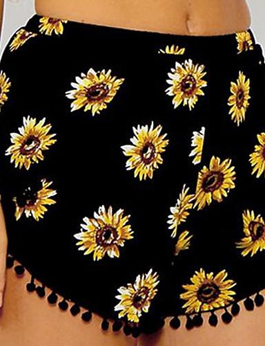 ราคาถูก กางเกงขาสั้น-สำหรับผู้หญิง พื้นฐาน กางเกงขาสั้น กางเกง - ลายดอกไม้ สีบานเย็น สีชมพู เสือดาว M L XL