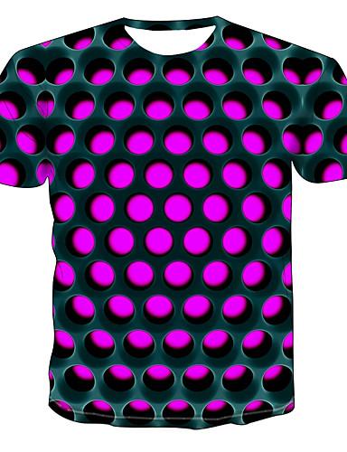 cheap Men's Tees & Tank Tops-Men's T-shirt - Color Block / 3D / Graphic Print Round Neck Purple XXXXL