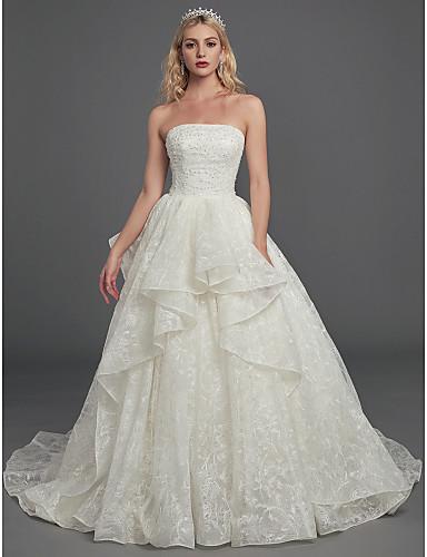 Salón Sin Tirantes Capilla Encaje Vestidos de novia hechos a medida con Cuentas / Encaje por LAN TING BRIDE®