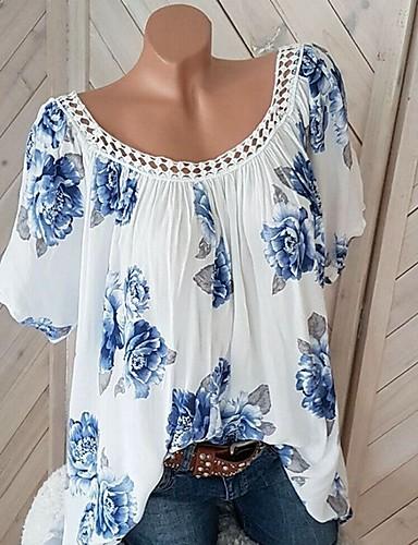 13edc271ac abordables Camisas y Camisetas para Mujer-Mujer Estampado Camiseta Floral  Blanco XXXL