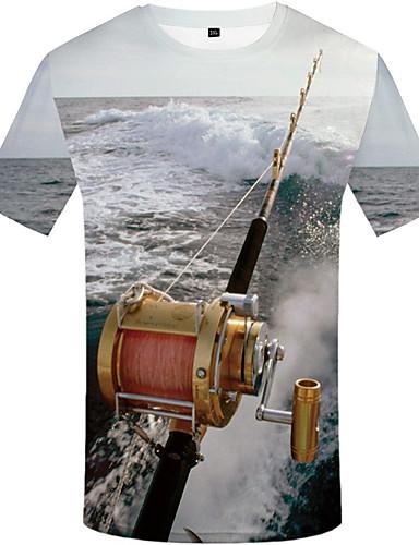 preiswerte Herren T-Shirts & Tank Tops-Herrn 3D Übergrössen T-shirt, Rundhalsausschnitt Druck Regenbogen XL