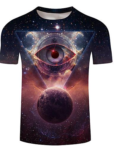 abordables Vêtements Homme-Tee-shirt Grandes Tailles Homme, Galaxie / 3D Imprimé Col Arrondi Arc-en-ciel