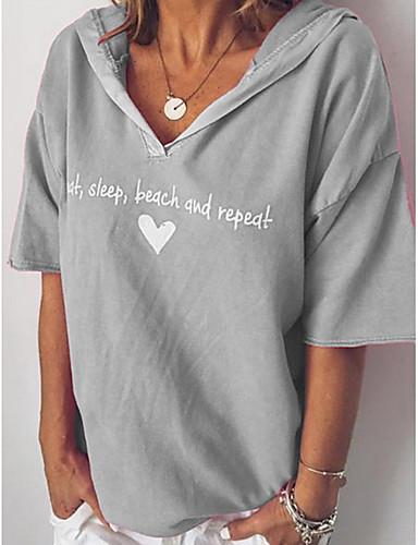abordables Hauts pour Femme-Tee-shirt Femme, Lettre Rose Claire