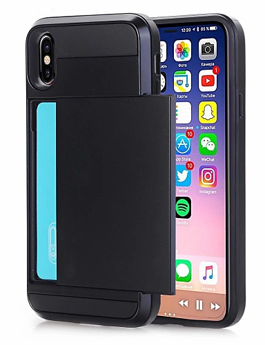 מארז iPhone XR / iPhone XS מחזיק הכרטיס המרבי בחזרה לכריכה מוצק צבעוני קשה pu עור עבור iPhone XS iPhone 8 ועוד 8 iPhone 7 פלוס 7 iPhone 6 פלוס 6