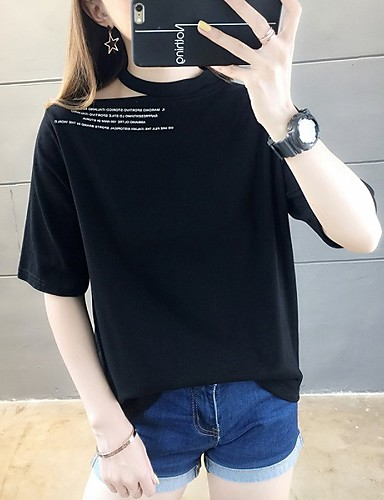 billige Dametopper-T-skjorte Dame - Bokstaver, Trykt mønster Gatemote / Elegant Grønn US4