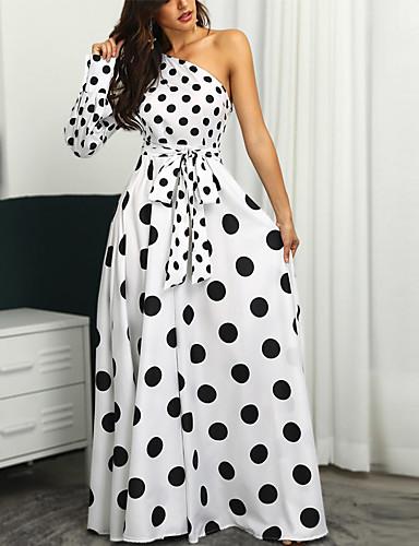 זול שמלות מנוקדות-כתפיה אחת מקסי דפוס, מנוקד - שמלה סווינג סקסי בגדי ריקוד נשים / Party / חגים