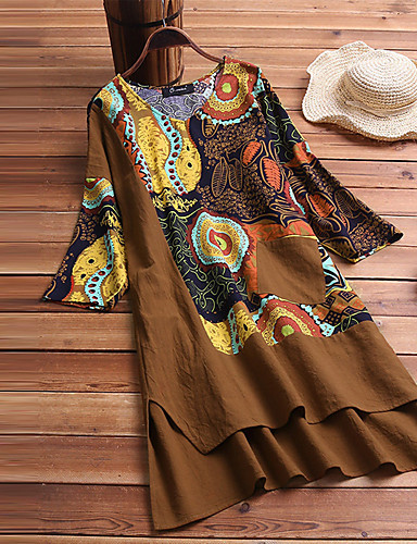 מעל הברך דפוס, גיאומטרי קולור בלוק - שמלה שיפון בוהו מתוחכם בגדי ריקוד נשים