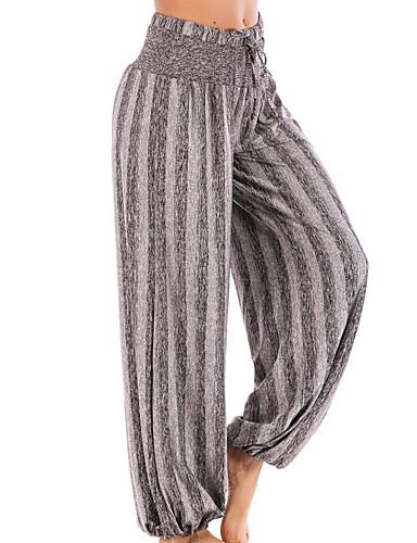 abordables Pantalons Femme-Femme Sportif Culotte Bouffante Pantalon - Rayé Taille haute Coton Gris Violet Fuchsia XL XXL XXXL
