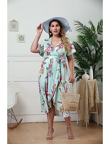tanie Sukienki-Damskie Moda miejska Elegancja Swing Sukienka - Geometric Shape, Nadruk Maxi