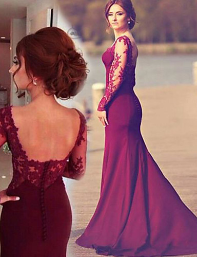 c9689f9c2882 A-Line Square Neck Sweep / Brush Train Lace Open Back Formal Evening Dress  with by LAN TING Express