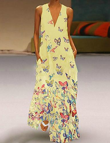 voordelige Maxi-jurken-Dames Grote maten Strand Boho Slank A-lijn Jurk - dier V-hals Maxi