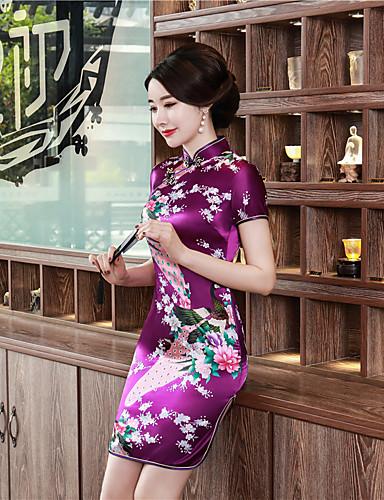 billige Etniske og kulturelle Kostymer-Voksen Dame Kinesisk Stil Cheongsam Til Fest / aften Club Uniformer 100% Polyester Over Knæet Cheongsam