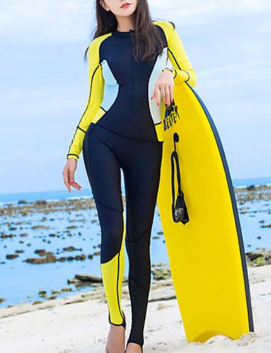 halpa Märkäpuvut, sukelluspuvut ja suoja-asut-HISEA® Naisten Skin-tyyppinen märkäpuku 0,5mm Sukelluspuvut UV-aurinkosuojaus Hengittävä Pitkähihainen Takavetoketju - Uinti Sukellus Lainelautailu Patchwork Kevät Kesä Syksy