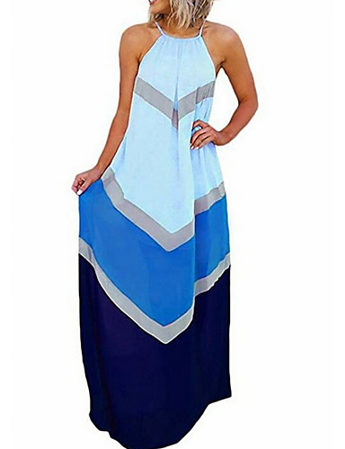 voordelige Maxi-jurken-Dames Tuniek Jurk Streep Tot de knie