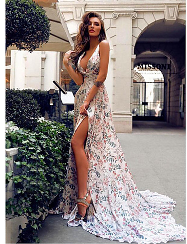 cheap Evening Dresses-A-Line Plunging Neck Sweep / Brush Train Jersey Dress with Pattern / Print by LAN TING Express