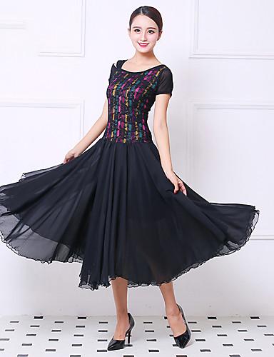 acebb4714f95 Ballroom Dance Dresses Women's Training / Performance Stretch Yarn /  Imitation Silk Ruching / Split Joint Short Sleeve Natural Dress