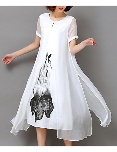 abordables Robes Femme-Femme Grandes Tailles Sortie Midi Ample Mousseline de Soie Robe - Imprimé, Fleur Blanc Eté Blanc Noir XXXL XXXXL XXXXXL Manches Courtes