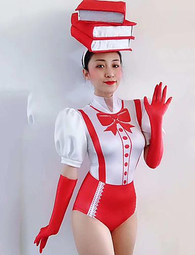 voordelige Shall We®-Exotische Dancewear Nachtclub jumpsuits / Club kostuum Dames Prestatie Spandex Ruches Korte mouw Gympak / Onesie / Handschoenen