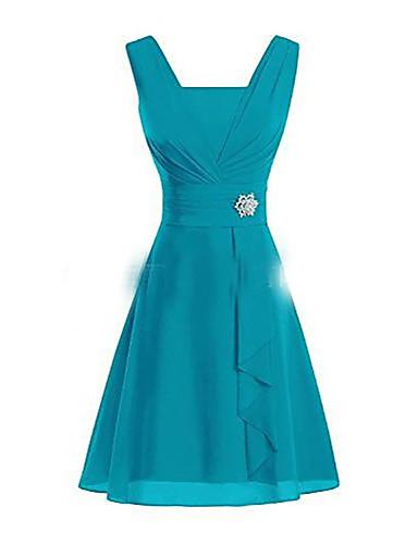 저렴한 플러스 사이즈 드레스-여성용 베이직 A 라인 드레스 - 솔리드 무릎 위