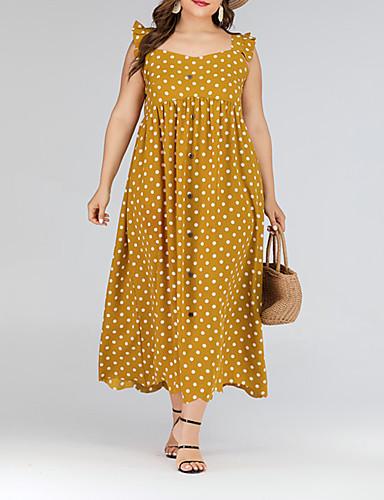 preiswerte Übergrössen-Damen-Damen Grundlegend Anspruchsvoll Swing Kleid - Rüsche, Punkt Maxi