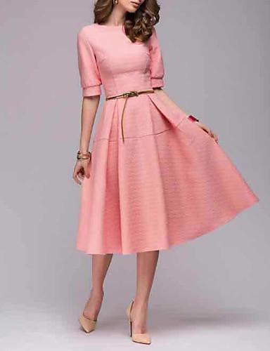 זול ביגוד נשים-מידי שמלה גזרת A סווינג סקייטר\מחליקה על הקרח רזה וינטאג' בגדי ריקוד נשים