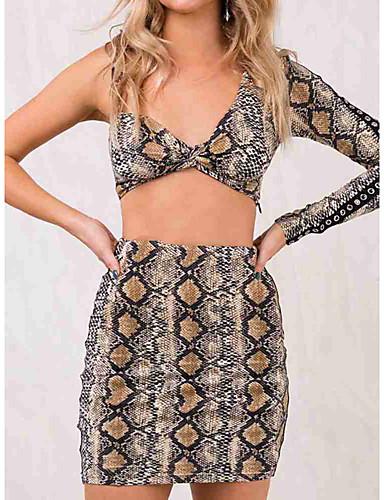 זול חצאיות לנשים-עור נחש - חצאיות צינור סגנון רחוב בגדי ריקוד נשים / רזה