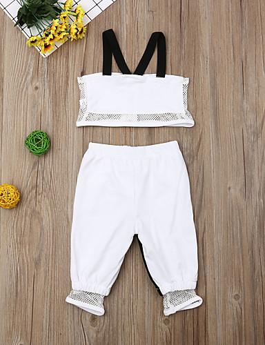 סט של בגדים כותנה קצר ללא שרוולים טלאים פעיל / סגנון רחוב בנות תִינוֹק / פעוטות