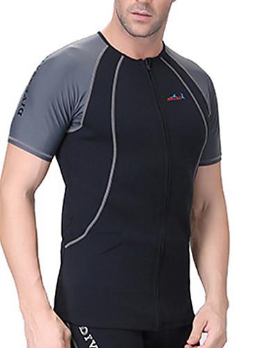 7f62dcbc1 Dive&Sail Men's Diving Rash Guard Thermal / Warm SPF50 UV Sun Protection  Nylon Elastane Neoprene Short Sleeve Swimwear Beach Wear Sun Shirt Top  Patchwork ...