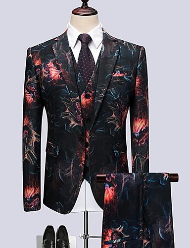 voordelige Herenblazers & kostuums-Heren Grote maten Pakken, Geometrisch Overhemdkraag Polyester Marineblauw / Slank