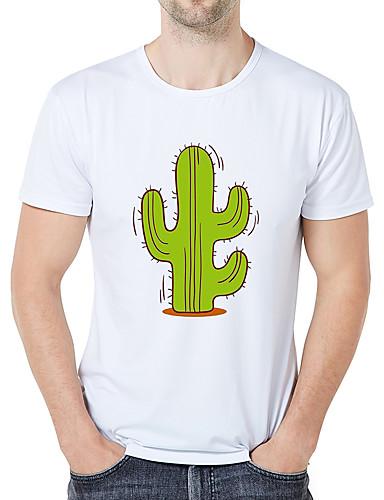 voordelige Heren T-shirts & tanktops-Heren Zakelijk / Vintage Print Grote maten - T-shirt Grafisch / Cartoon / camouflage Ronde hals Slank Wit / Korte mouw