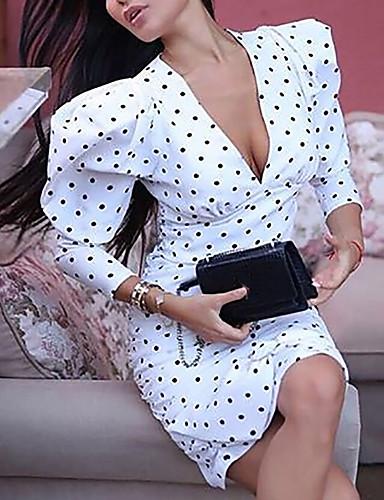 baratos Vestidos de Bolinhas-Mulheres Moda de Rua Elegante Bainha Vestido - Estampado, Poá Altura dos Joelhos
