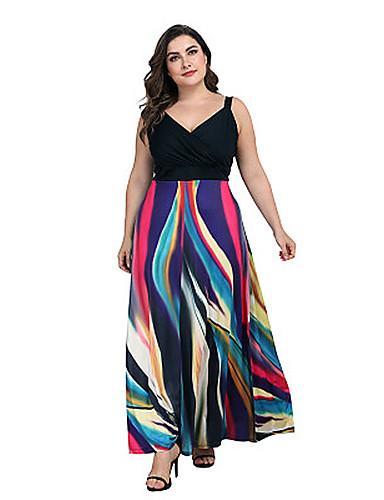 voordelige Grote maten jurken-Dames Street chic Schede Jurk - Gestreept, Print Maxi